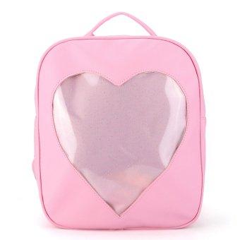 Women Girls Backpack Cute Heart Transparent Shaped School Hiking Bookbag Pink - intl