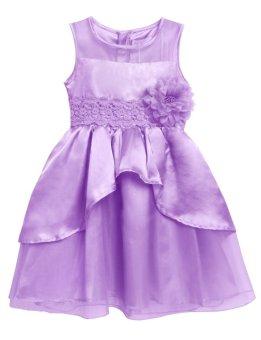 Linemart New Kids Girl O-Neck Sleeveless Flower Party Wedding Tulle Ruffle Dress ( Purple ) - intl