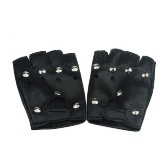 Theatrical Punk Hip-hop PU Black Half-finger Leather Gloves Round Nail (Intl)