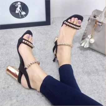 Giày sandal đế vuông quai đính ngọc trai S287