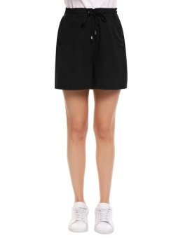 Cyber Women's Drawstring Waist Solid Casual Loose Fit Shorts ( Black ) - intl