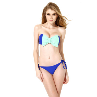 Colloyes 2015 New Sexy Royal Blue Bandeau Top Bikini Swimwear With A Playful Bow At The Center Front Size L - Intl