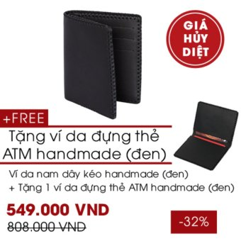 Combo Ví Da Nam Đứng Handmade - Tặng Ví Da Đựng Thẻ Handmade - Leorno
