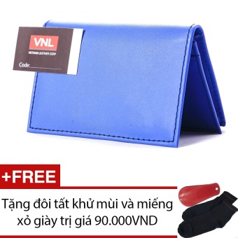 Ví đựng card visit da thật cao cấp Da Giày Việt Nam VNLL0AZA1QDG (Xanh dương) + Tặng đôi vớ và miếng xỏ giày