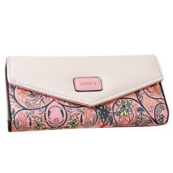 Women Lady PU Leather 2 fold Purse Idyllic Small Floral Rhombic Long Zipper Clutch Wallet Bag Coin Credit Cards Holder Wallet Handbag Pink - intl