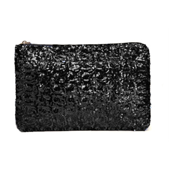 Fashion Women Clutch Bag Dazzling Sequins Glitter Sparkling Handbag Evening Party Bag Black (Intl)
