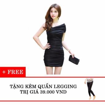Đầm ôm lệch vai tặng kèm quần legging Thoitrangkm