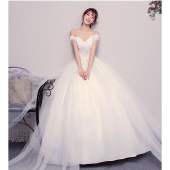 Áo cưới công chúa trắng, trễ vai - M561