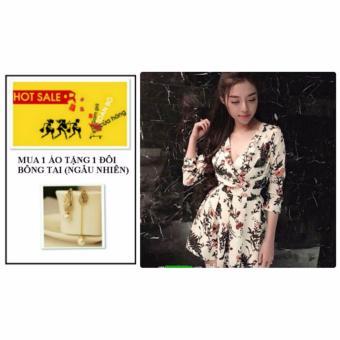 Đầm Hoa Sero Kem W3382KEM + tặng 1 đôi bông tai (ngẫu nhiên)