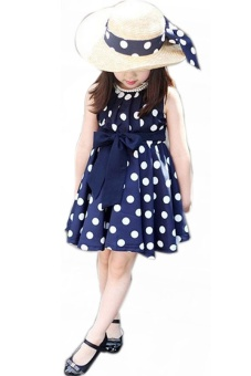 LALANG Children Girls Polka Dot Dresses Blue