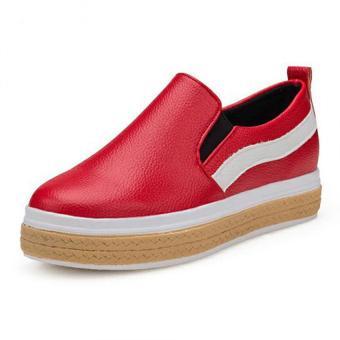 Giày slip on nữ viền da phong cách thời trang Doni86 Bm218R (Đỏ)