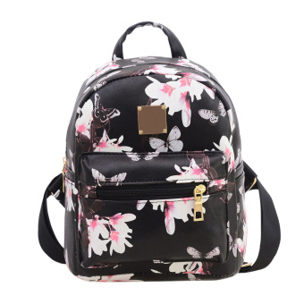 Women Backpack Floral Printing PU Leather Backpack(black) - intl