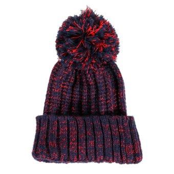 Winter Women Crochet Beret BeanieHat Knitted Wool Ski Crochet Cap Violet (Intl)