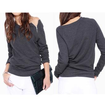 Gray New Womens Zipper Sweater Long Sleeve Tops Shirt Pullover Thin Coat L - intl