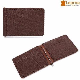 Ví da kẹp tiền handmade Leorno VD31 (Nâu)