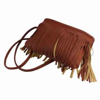Hot Tassel Shoulder Messenger Clutch Baguette Handbag Women Satchel (Brown) - Intl