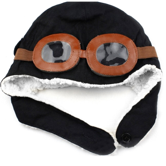 Winter Warm Child Hat Beanie Earflap Hat Pilot Aviator Style Cap For 2 - 5 Years Old Kids Black