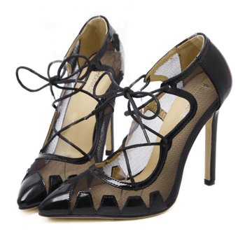Giày cao gót xuyên thấu phối dây cho bạn gái thêm phần bí ẩn- 111 (Đen)