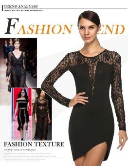 Sunweb Zeagoo Fashion Women O-Neck Sexy Lace Patchwork Slim Irregular Mini Dress ( Black ) - intl