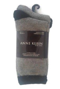 Bộ 2 Đôi Tất Len Cashmere Xám Cao Cấp Anne Klein Women's 2-Pack Tipped Cashmere Crew Socks