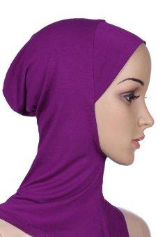 Bluelans Muslim Full Cover Inner Hijab Cap Islamic Underscarf Neck Head Bonnet Hat Purple (Intl)
