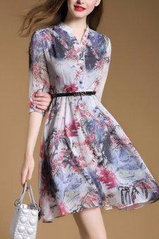Đầm họa tiết nút bọc kèm belt