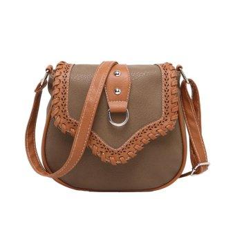 Women Crossbody Bags PU Leather Woven Splice Shoulder Messenger Bag Small Handbag Satchel Tote Khaki - intl