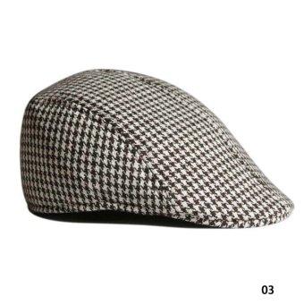 Fancyqube Vintage Grid Pattern Berets Leisure Hat 03 - Intl