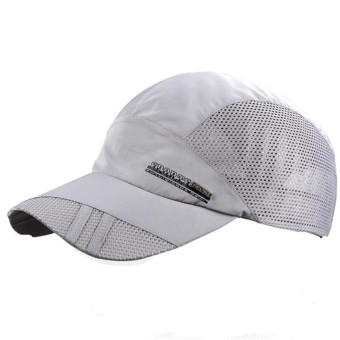 Unisex Mesh Quick Dry Adjustable Sport Snapback Cap Light Gray - Intl - Intl