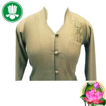 Bộ 1 áo và 1 quần pháp phục Phật tử nữ tay dài (Rêu)