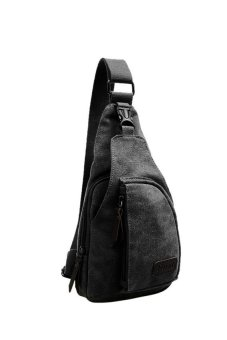 HKS Cool Outdoor Sports Casual Canvas Unbalance Backpack Crossbody Sling Bag Shoulder Bag Chest Bag for Men Black S - intl