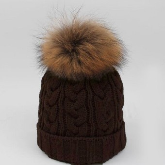 Women Winter Warm Wool Knit Beanie Raccoon Fur Pom Bobble Hat Crochet Ski Cap - Intl