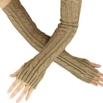 Hemp Flowers Fingerless Knitted Long Gloves Khaki - Intl