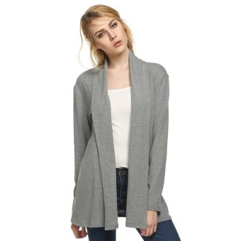 Cyber ANGVNS Women Long Sleeve Loose Casual Cardigan (Grey) - Intl