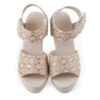 Ladies Magic Tape High Heels Sandals Round Toe (Off-white) - intl