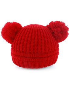 Baby Dual Ball Toddler Crochet Knitted Cap Winter Warm Hat Beanie Cap Red - Intl