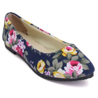 Womens Ballet Flats Loafers Shoes Casual Floral Pointed Toe Wedding Comfy Shoes - Intl - intl