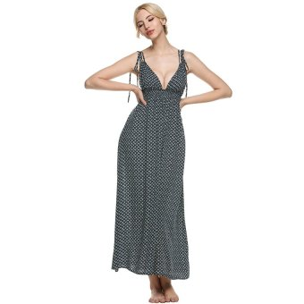 Cyber Zeagoo Sexy Women Deep V-Neck Empire Waist Backless Print Maxi Long Dress - Intl