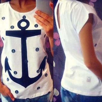 Sunwonder Women Fashion Casual Batwing Short Sleeve Keyhole Print Loose T Shirt Tops (White) (Intl) - intl