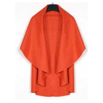 Women's Wool Shawl Poncho Wrap Scarves Coat (Orange) - Intl