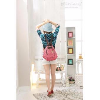 Balo nữ màu hồng sọc chéo gấu dav danny thời trang dành cho bạn gái - DD166K3067