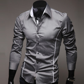Moonar Fashion Men's Topstitching Style Slim Shirt Pure Color Shirt Long-Sleeve Casual Shirt (Grey) - intl
