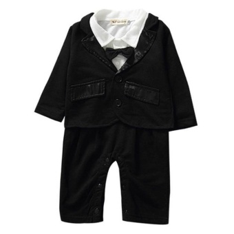 1 Set Baby Clothes Outfits Boy Kids Long Sleeved Romper with Coat Party 80cm - intl