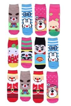 Bộ 12 đôi tất vớ trẻ em từ 9-12 tuổi bé gái Sociustore 12SOCKS 004 9T12 GIRL
