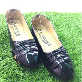 Giày búp bê da bóng 3 dây cách điệu-Màu xám