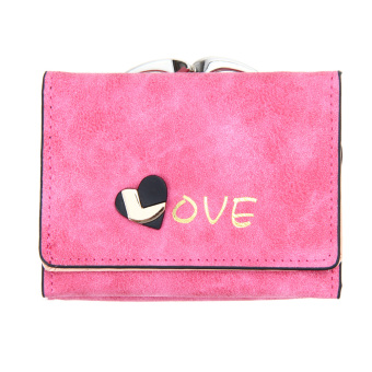 Fashion Women Lady Clutch PU Leather Wallet Lady Holder Purse(Hot pink) - Intl