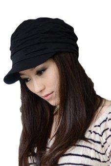 Cyber Unsex Women Pleated Peaked Cotton Sun Hat (Black) - Intl
