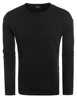 Linemart Men Casual O-Neck Long Sleeve Solid Decorative Zipper Pullover T-Shirt ( Black ) - intl