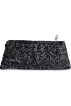 Moonar Sequin Party Clutch Make Up Evening Toiletry Sequins Bag Purse (Black) - Intl