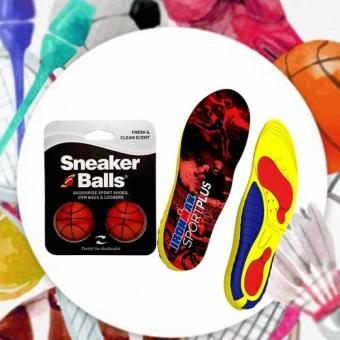 Combo lót giày thể thao Sport Plus Ironman và bóng khử mùi kháng khuẩn Sneaker balls Basketball-Int: One size